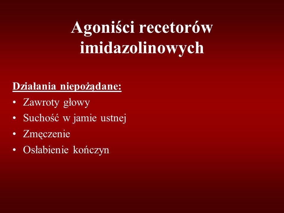 Agoniści recetorów imidazolinowych Działania niepożądane: Zawroty głowy Suchość w jamie ustnej Zmęczenie Osłabienie kończyn