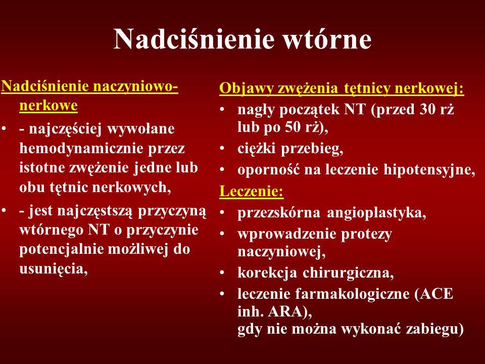 Nadciśnienie wtórne Nadciśnienie naczyniowo- nerkowe - najczęściej wywołane hemodynamicznie przez istotne zwężenie jedne lub obu tętnic nerkowych, - jest najczęstszą przyczyną wtórnego NT o przyczynie potencjalnie możliwej do usunięcia, Objawy zwężenia tętnicy nerkowej: nagły początek NT (przed 30 rż lub po 50 rż), ciężki przebieg, oporność na leczenie hipotensyjne, Leczenie: przezskórna angioplastyka, wprowadzenie protezy naczyniowej, korekcja chirurgiczna, leczenie farmakologiczne (ACE inh.