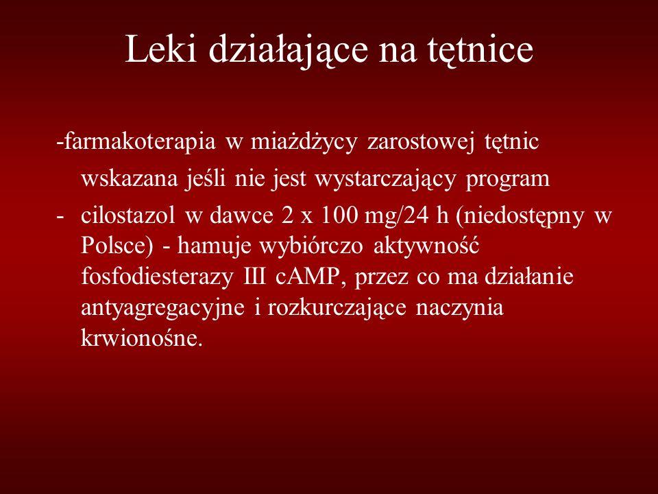 Leki działające na tętnice -farmakoterapia w miażdżycy zarostowej tętnic wskazana jeśli nie jest wystarczający program -cilostazol w dawce 2 x 100 mg/24 h (niedostępny w Polsce) - hamuje wybiórczo aktywność fosfodiesterazy III cAMP, przez co ma działanie antyagregacyjne i rozkurczające naczynia krwionośne.