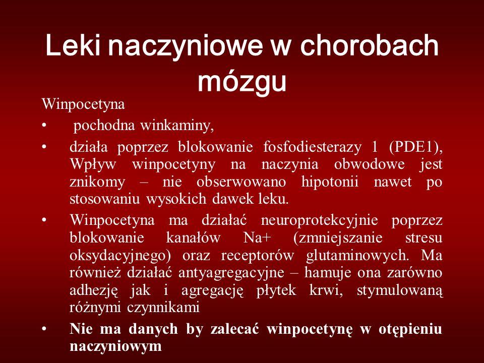 Winpocetyna pochodna winkaminy, działa poprzez blokowanie fosfodiesterazy 1 (PDE1), Wpływ winpocetyny na naczynia obwodowe jest znikomy – nie obserwowano hipotonii nawet po stosowaniu wysokich dawek leku.