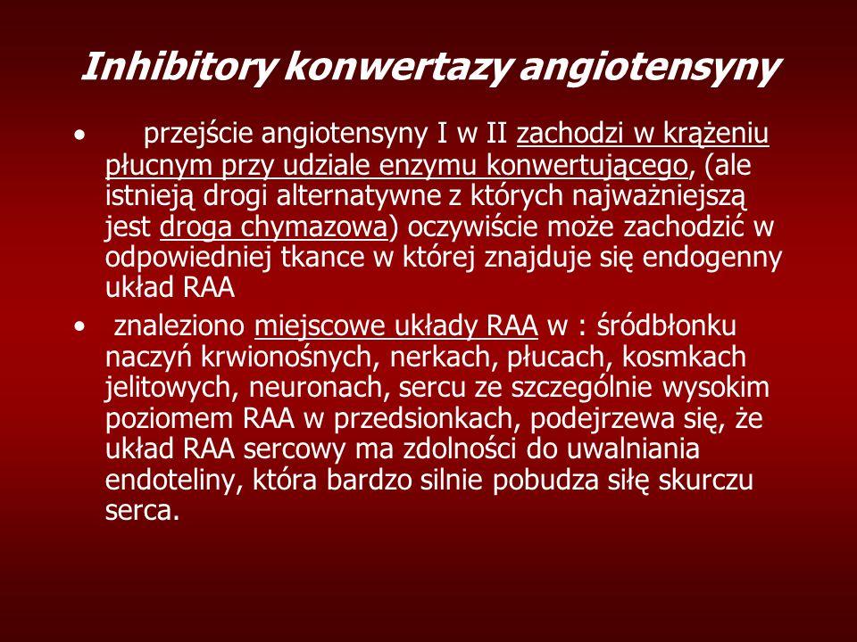 Inhibitory konwertazy angiotensyny  przejście angiotensyny I w II zachodzi w krążeniu płucnym przy udziale enzymu konwertującego, (ale istnieją drogi alternatywne z których najważniejszą jest droga chymazowa) oczywiście może zachodzić w odpowiedniej tkance w której znajduje się endogenny układ RAA znaleziono miejscowe układy RAA w : śródbłonku naczyń krwionośnych, nerkach, płucach, kosmkach jelitowych, neuronach, sercu ze szczególnie wysokim poziomem RAA w przedsionkach, podejrzewa się, że układ RAA sercowy ma zdolności do uwalniania endoteliny, która bardzo silnie pobudza siłę skurczu serca.