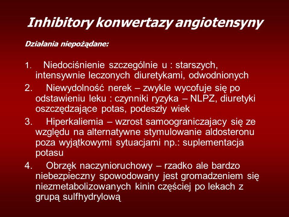 Inhibitory konwertazy angiotensyny Działania niepożądane: 1. Niedociśnienie szczególnie u : starszych, intensywnie leczonych diuretykami, odwodnionych