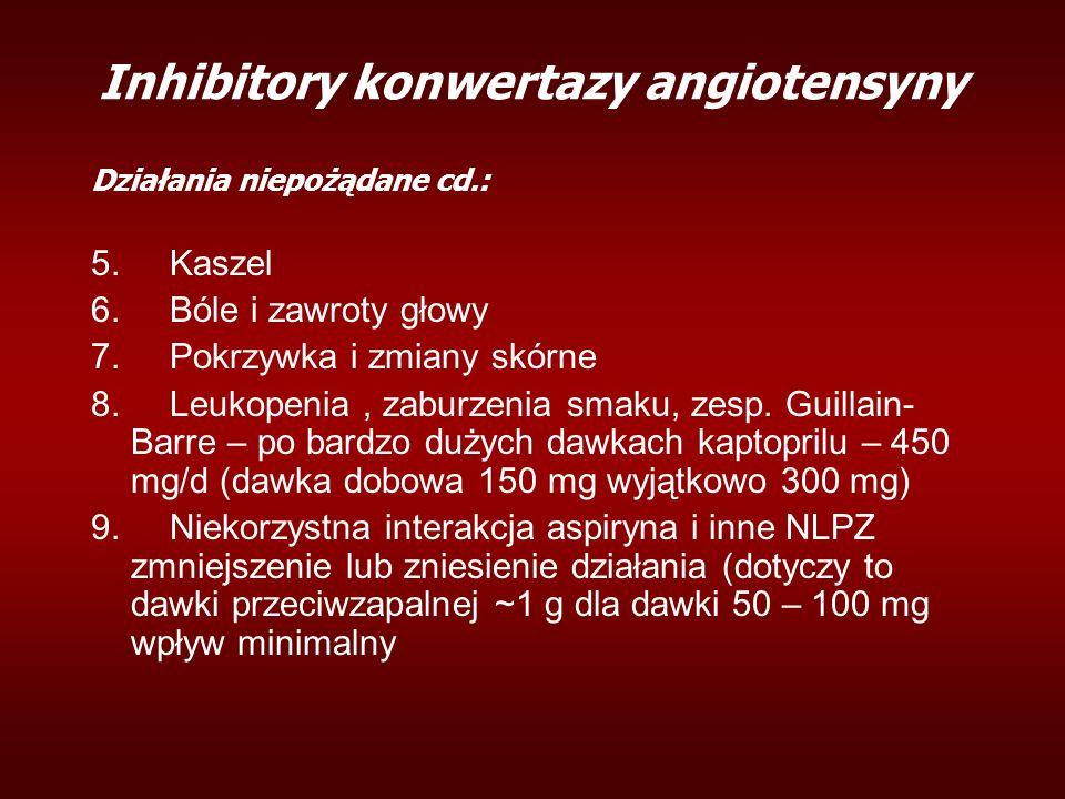 Inhibitory konwertazy angiotensyny Działania niepożądane cd.: 5. Kaszel 6. Bóle i zawroty głowy 7. Pokrzywka i zmiany skórne 8. Leukopenia, zaburzenia