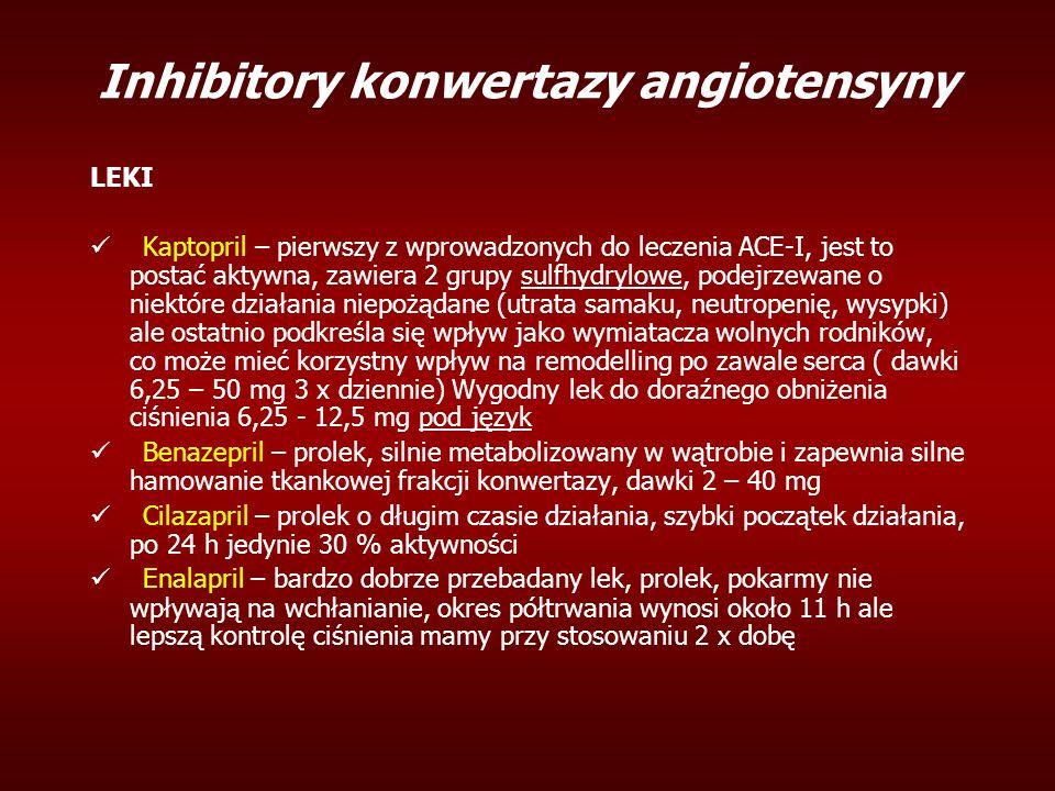 Inhibitory konwertazy angiotensyny LEKI Kaptopril – pierwszy z wprowadzonych do leczenia ACE-I, jest to postać aktywna, zawiera 2 grupy sulfhydrylowe, podejrzewane o niektóre działania niepożądane (utrata samaku, neutropenię, wysypki) ale ostatnio podkreśla się wpływ jako wymiatacza wolnych rodników, co może mieć korzystny wpływ na remodelling po zawale serca ( dawki 6,25 – 50 mg 3 x dziennie) Wygodny lek do doraźnego obniżenia ciśnienia 6,25 - 12,5 mg pod język Benazepril – prolek, silnie metabolizowany w wątrobie i zapewnia silne hamowanie tkankowej frakcji konwertazy, dawki 2 – 40 mg Cilazapril – prolek o długim czasie działania, szybki początek działania, po 24 h jedynie 30 % aktywności Enalapril – bardzo dobrze przebadany lek, prolek, pokarmy nie wpływają na wchłanianie, okres półtrwania wynosi około 11 h ale lepszą kontrolę ciśnienia mamy przy stosowaniu 2 x dobę