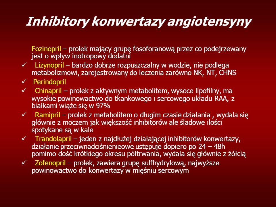 Inhibitory konwertazy angiotensyny Fozinopril – prolek mający grupę fosoforanową przez co podejrzewany jest o wpływ inotropowy dodatni Lizynopril – bardzo dobrze rozpuszczalny w wodzie, nie podlega metabolizmowi, zarejestrowany do leczenia zarówno NK, NT, CHNS Perindopril Chinapril – prolek z aktywnym metabolitem, wysoce lipofilny, ma wysokie powinowactwo do tkankowego i sercowego układu RAA, z białkami wiąże się w 97% Ramipril – prolek z metabolitem o długim czasie działania, wydala się głównie z moczem jak większość inhibitorów ale śladowe ilości spotykane są w kale Trandolapril – jeden z najdłużej działającej inhibitorów konwertazy, działanie przeciwnadciśnienieowe ustępuje dopiero po 24 – 48h pomimo dość krótkiego okresu półtrwania, wydala się głównie z żółcią Zofenopril – prolek, zawiera grupę sulfhydrylową, najwyższe powinowactwo do konwertazy w mięśniu sercowym