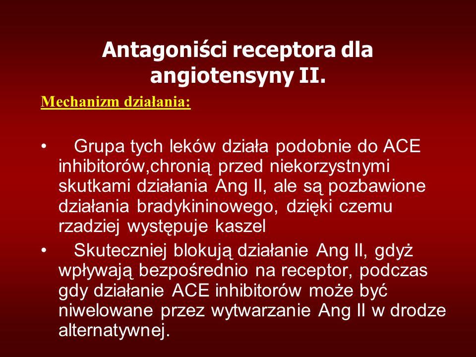 Antagoniści receptora dla angiotensyny II. Mechanizm działania: Grupa tych leków działa podobnie do ACE inhibitorów,chronią przed niekorzystnymi skutk