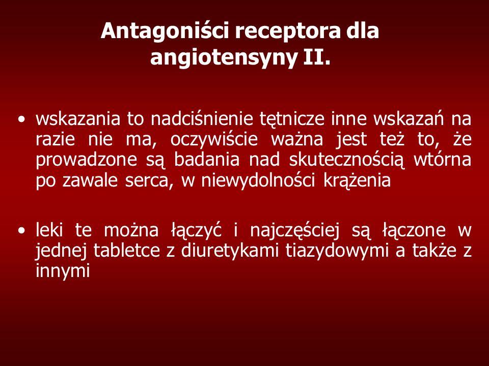 Antagoniści receptora dla angiotensyny II. wskazania to nadciśnienie tętnicze inne wskazań na razie nie ma, oczywiście ważna jest też to, że prowadzon