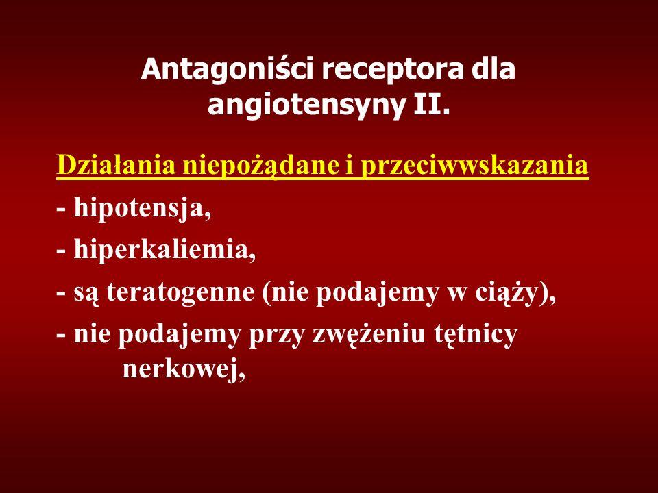 Antagoniści receptora dla angiotensyny II. Działania niepożądane i przeciwwskazania - hipotensja, - hiperkaliemia, - są teratogenne (nie podajemy w ci