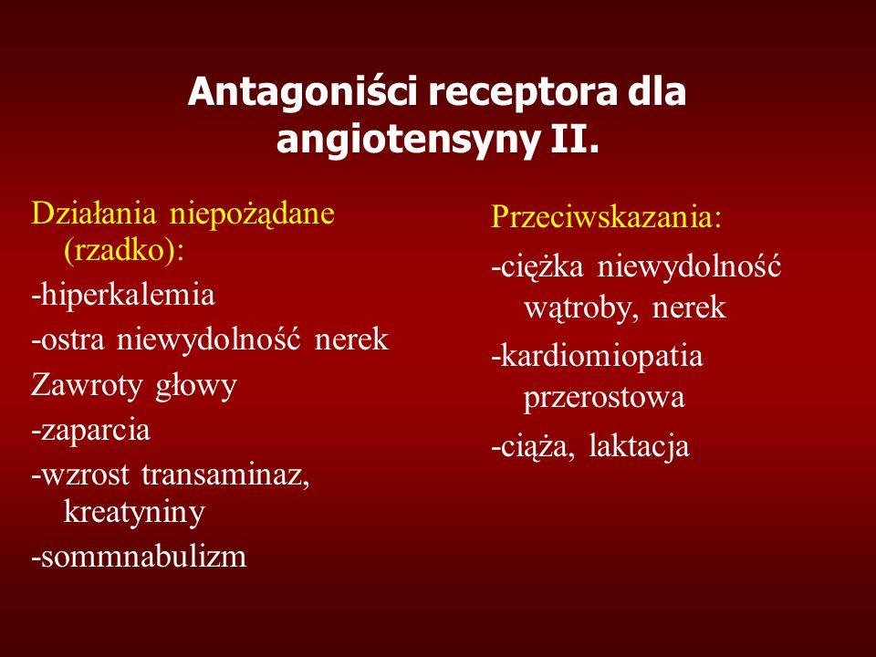 Antagoniści receptora dla angiotensyny II. Działania niepożądane (rzadko): -hiperkalemia -ostra niewydolność nerek Zawroty głowy -zaparcia -wzrost tra