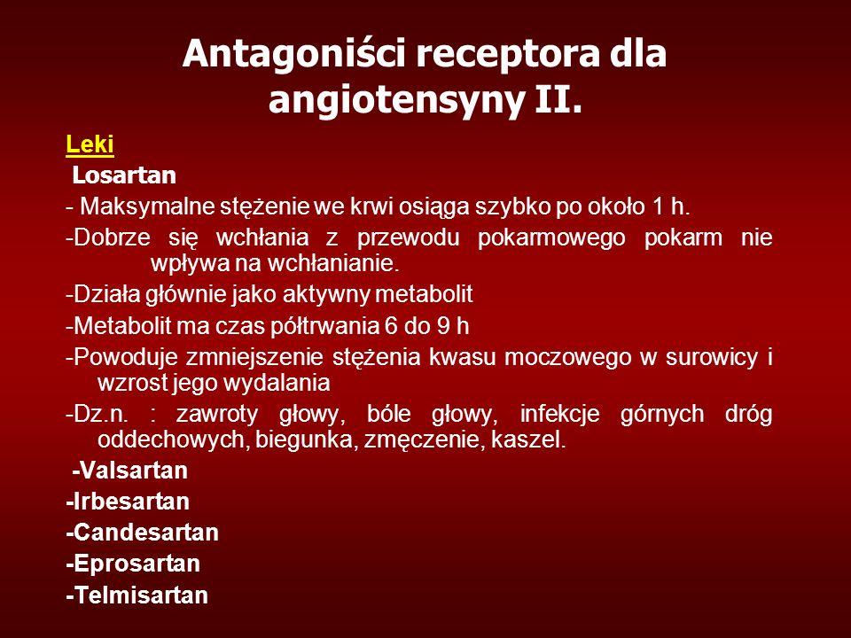 Antagoniści receptora dla angiotensyny II. Leki Losartan - Maksymalne stężenie we krwi osiąga szybko po około 1 h. -Dobrze się wchłania z przewodu pok