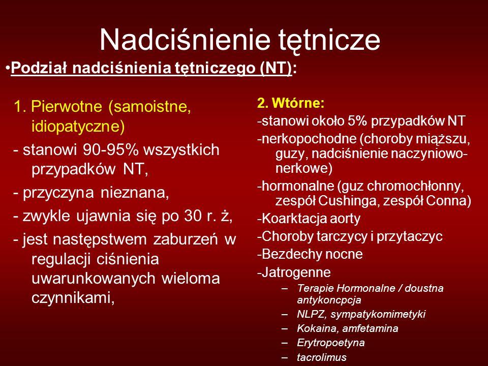 Nadciśnienie tętnicze 1. Pierwotne (samoistne, idiopatyczne) - stanowi 90-95% wszystkich przypadków NT, - przyczyna nieznana, - zwykle ujawnia się po