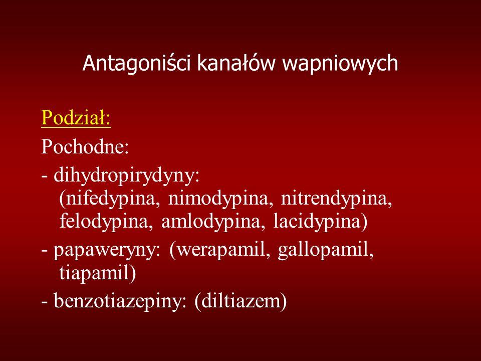 Podział: Pochodne: - dihydropirydyny: (nifedypina, nimodypina, nitrendypina, felodypina, amlodypina, lacidypina) - papaweryny: (werapamil, gallopamil, tiapamil) - benzotiazepiny: (diltiazem)