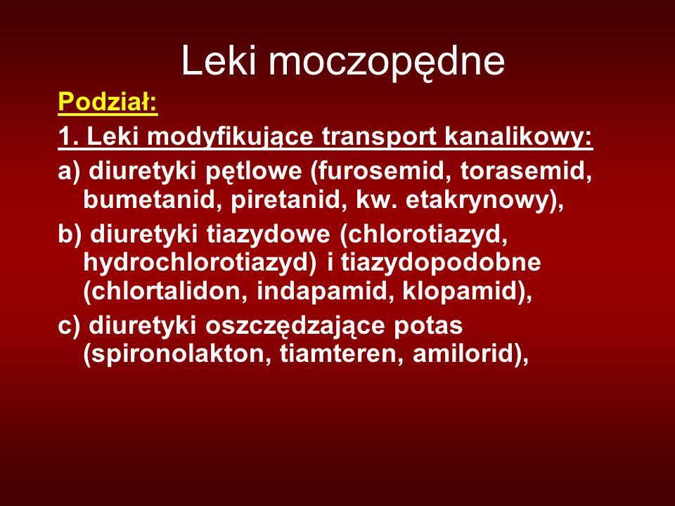 Leki moczopędne Podział: 1. Leki modyfikujące transport kanalikowy: a) diuretyki pętlowe (furosemid, torasemid, bumetanid, piretanid, kw. etakrynowy),