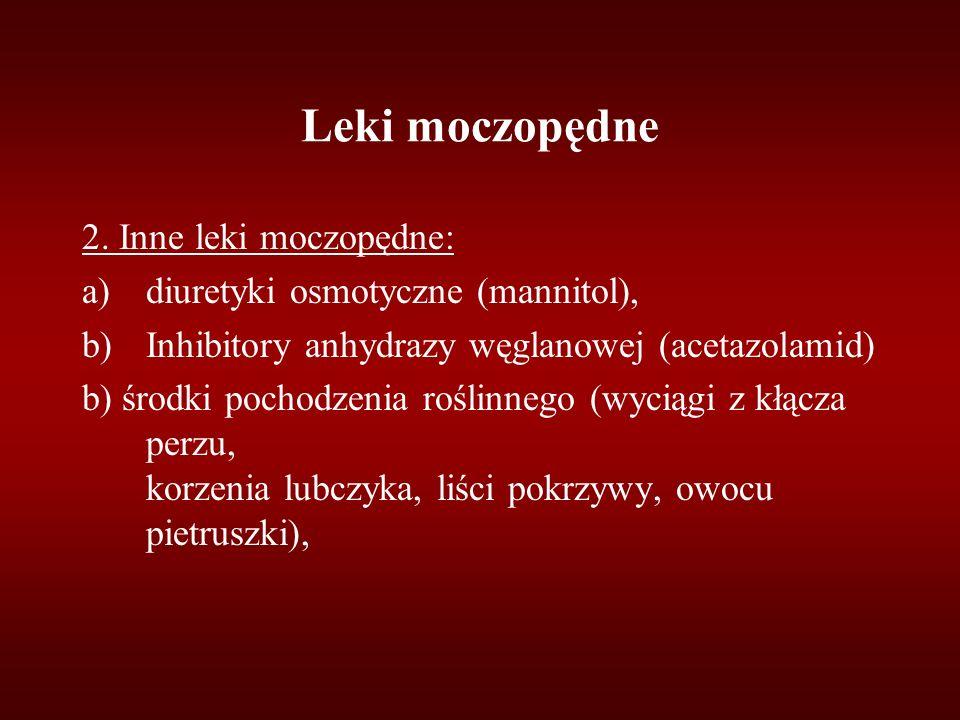 Leki moczopędne 2. Inne leki moczopędne: a)diuretyki osmotyczne (mannitol), b)Inhibitory anhydrazy węglanowej (acetazolamid) b) środki pochodzenia roś
