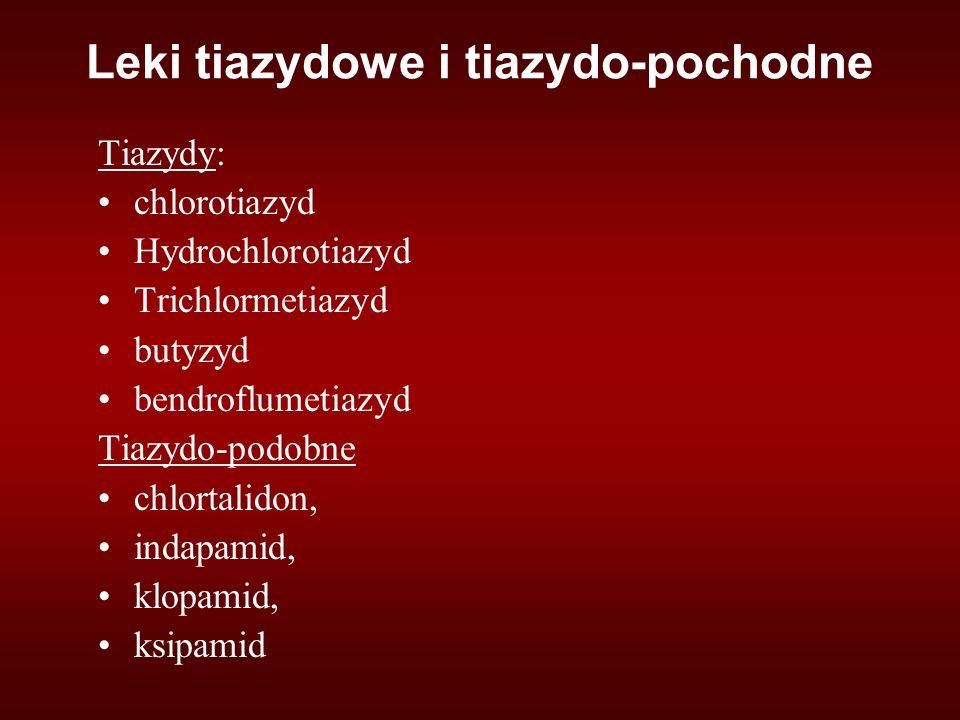Leki tiazydowe i tiazydo-pochodne Tiazydy: chlorotiazyd Hydrochlorotiazyd Trichlormetiazyd butyzyd bendroflumetiazyd Tiazydo-podobne chlortalidon, indapamid, klopamid, ksipamid