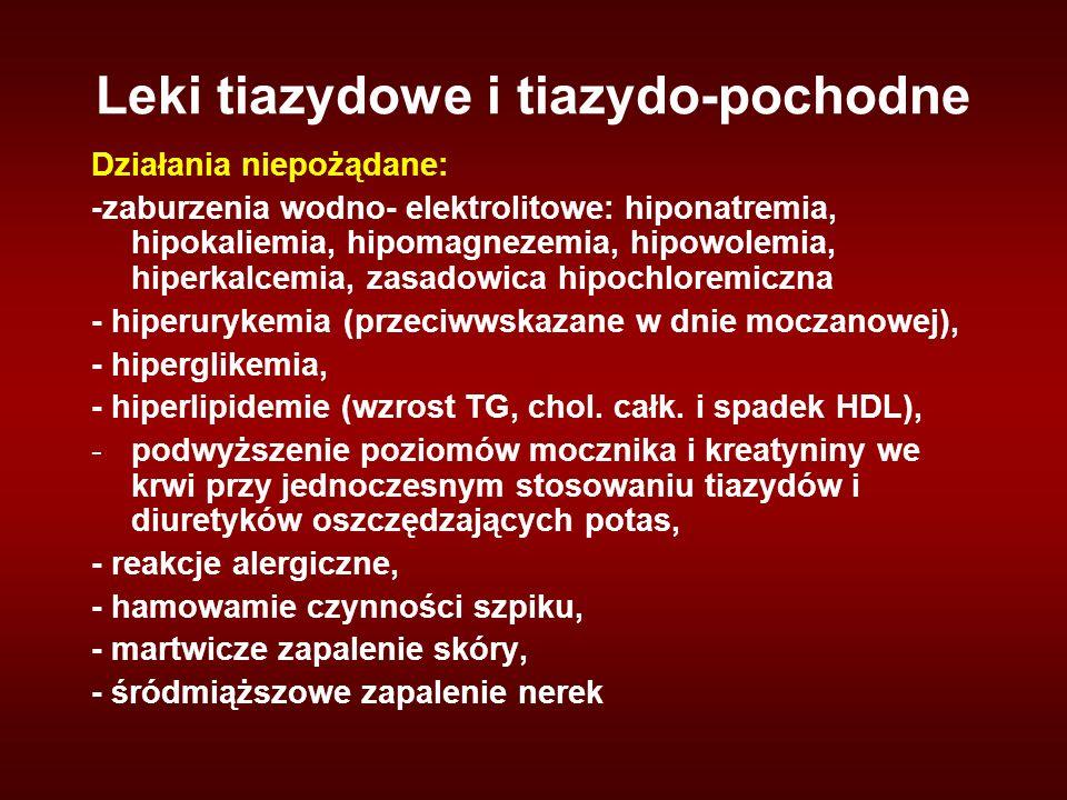 Leki tiazydowe i tiazydo-pochodne Działania niepożądane: -zaburzenia wodno- elektrolitowe: hiponatremia, hipokaliemia, hipomagnezemia, hipowolemia, hiperkalcemia, zasadowica hipochloremiczna - hiperurykemia (przeciwwskazane w dnie moczanowej), - hiperglikemia, - hiperlipidemie (wzrost TG, chol.