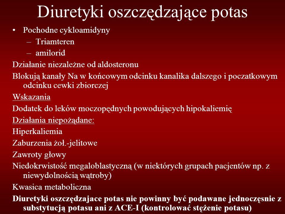 Diuretyki oszczędzające potas Pochodne cykloamidyny –Triamteren –amilorid Działanie niezależne od aldosteronu Blokują kanały Na w końcowym odcinku kanalika dalszego i poczatkowym odcinku cewki zbiorczej Wskazania Dodatek do leków moczopędnych powodujących hipokaliemię Działania niepożądane: Hiperkaliemia Zaburzenia żoł.-jelitowe Zawroty głowy Niedokrwistość megaloblastyczną (w niektórych grupach pacjentów np.