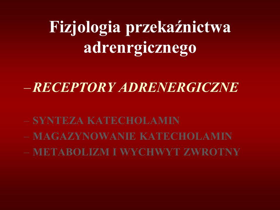 Fizjologia przekaźnictwa adrenrgicznego –RECEPTORY ADRENERGICZNE –SYNTEZA KATECHOLAMIN –MAGAZYNOWANIE KATECHOLAMIN –METABOLIZM I WYCHWYT ZWROTNY
