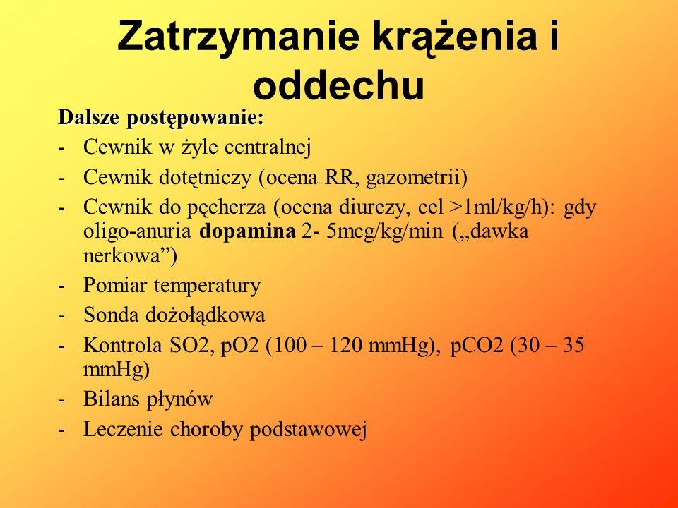 Dalsze postępowanie: -Cewnik w żyle centralnej -Cewnik dotętniczy (ocena RR, gazometrii) -Cewnik do pęcherza (ocena diurezy, cel >1ml/kg/h): gdy oligo