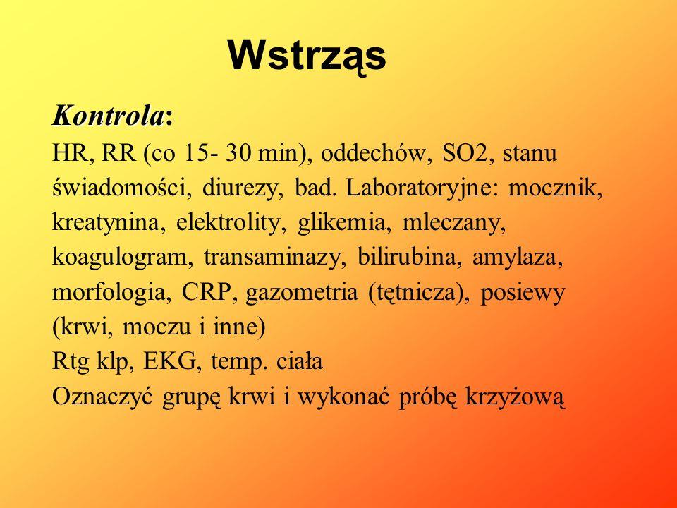 Kontrola Kontrola: HR, RR (co 15- 30 min), oddechów, SO2, stanu świadomości, diurezy, bad. Laboratoryjne: mocznik, kreatynina, elektrolity, glikemia,