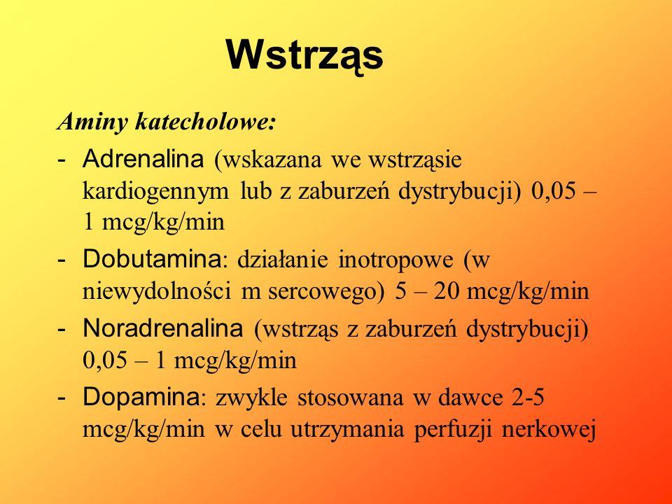Aminy katecholowe: -Adrenalina (wskazana we wstrząsie kardiogennym lub z zaburzeń dystrybucji) 0,05 – 1 mcg/kg/min -Dobutamina : działanie inotropowe
