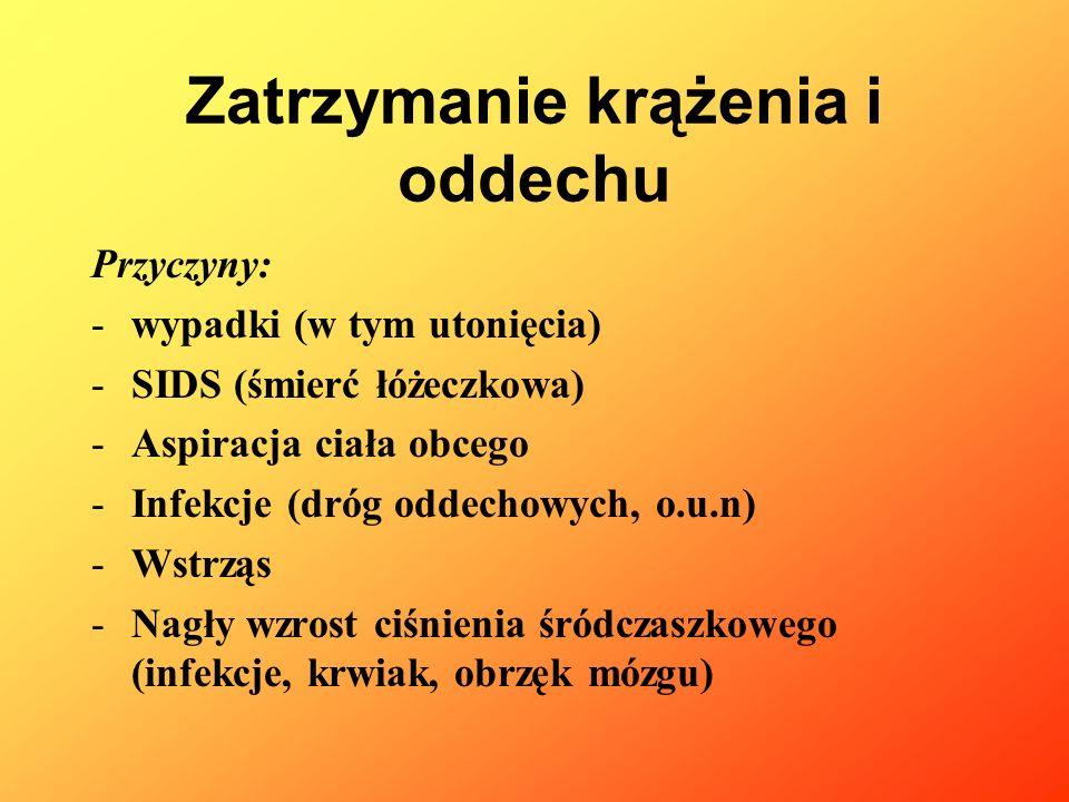 Zatrzymanie krążenia i oddechu Przyczyny: -wypadki (w tym utonięcia) -SIDS (śmierć łóżeczkowa) -Aspiracja ciała obcego -Infekcje (dróg oddechowych, o.