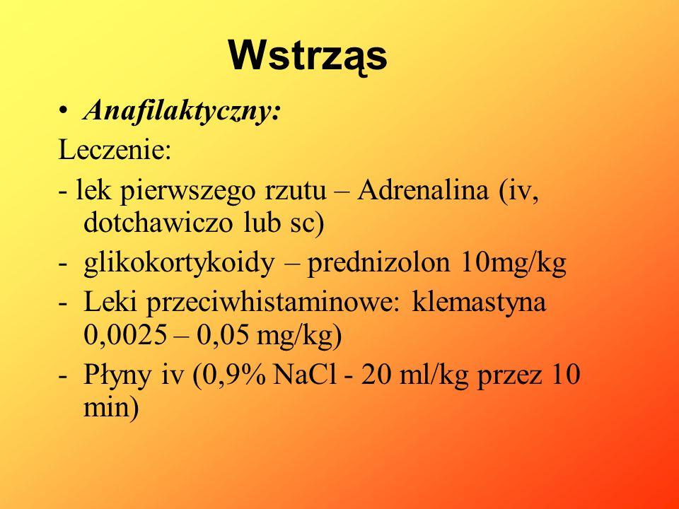 Anafilaktyczny: Leczenie: - lek pierwszego rzutu – Adrenalina (iv, dotchawiczo lub sc) -glikokortykoidy – prednizolon 10mg/kg -Leki przeciwhistaminowe
