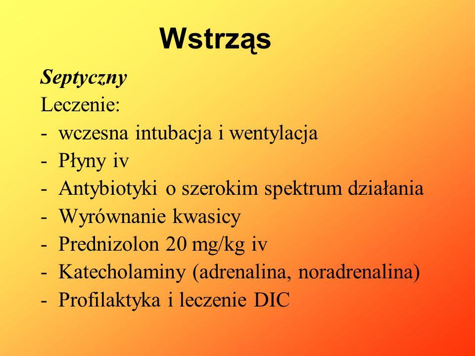 Septyczny Leczenie: -wczesna intubacja i wentylacja -Płyny iv -Antybiotyki o szerokim spektrum działania -Wyrównanie kwasicy -Prednizolon 20 mg/kg iv