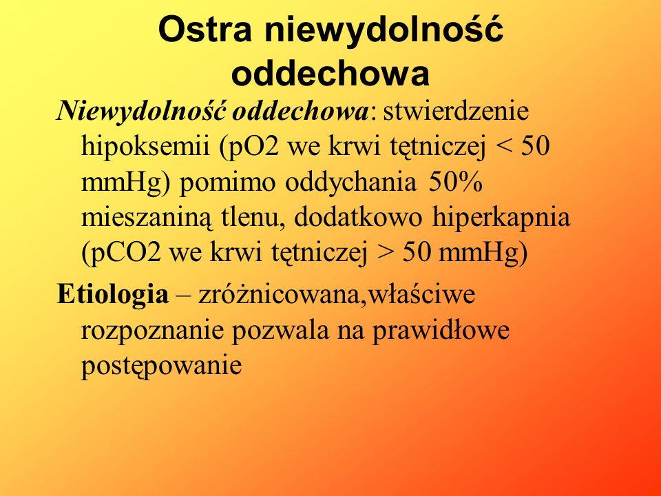 Ostra niewydolność oddechowa Niewydolność oddechowa: stwierdzenie hipoksemii (pO2 we krwi tętniczej 50 mmHg) Etiologia – zróżnicowana,właściwe rozpozn