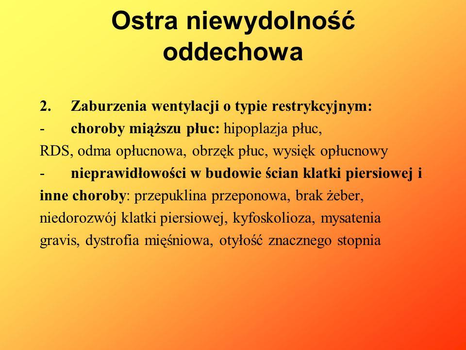 2. Zaburzenia wentylacji o typie restrykcyjnym: -choroby miąższu płuc: hipoplazja płuc, RDS, odma opłucnowa, obrzęk płuc, wysięk opłucnowy -nieprawidł