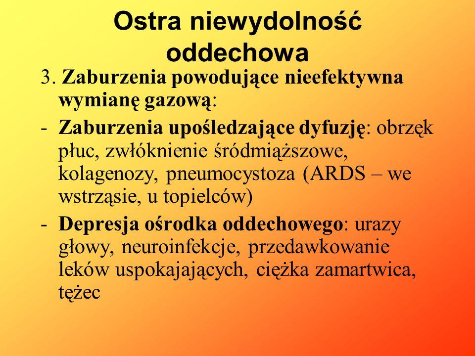 3. Zaburzenia powodujące nieefektywna wymianę gazową: -Zaburzenia upośledzające dyfuzję: obrzęk płuc, zwłóknienie śródmiąższowe, kolagenozy, pneumocys