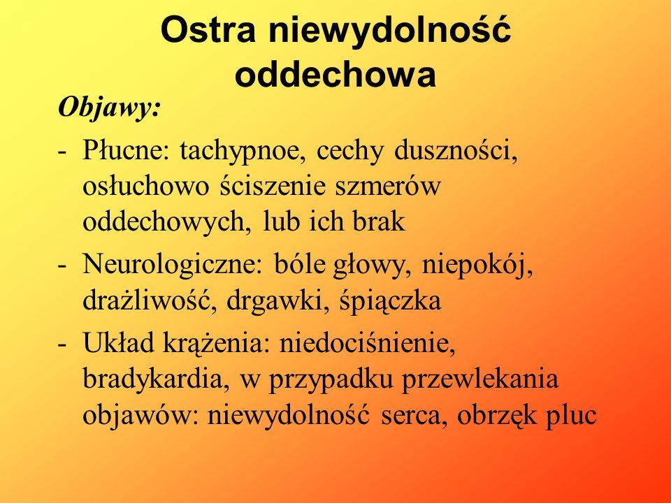 Objawy: -Płucne: tachypnoe, cechy duszności, osłuchowo ściszenie szmerów oddechowych, lub ich brak -Neurologiczne: bóle głowy, niepokój, drażliwość, d