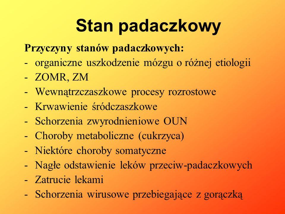 Przyczyny stanów padaczkowych: -organiczne uszkodzenie mózgu o różnej etiologii -ZOMR, ZM -Wewnątrzczaszkowe procesy rozrostowe -Krwawienie śródczaszk