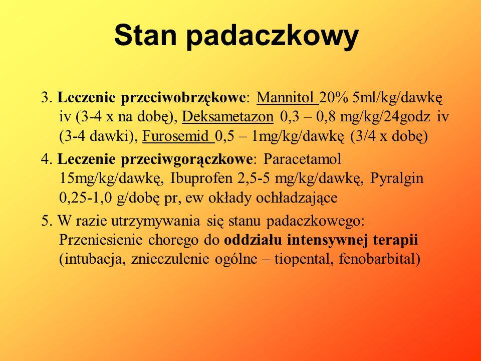 3. Leczenie przeciwobrzękowe: Mannitol 20% 5ml/kg/dawkę iv (3-4 x na dobę), Deksametazon 0,3 – 0,8 mg/kg/24godz iv (3-4 dawki), Furosemid 0,5 – 1mg/kg