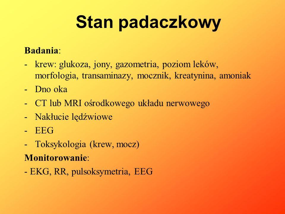 Badania: -krew: glukoza, jony, gazometria, poziom leków, morfologia, transaminazy, mocznik, kreatynina, amoniak -Dno oka -CT lub MRI ośrodkowego układ