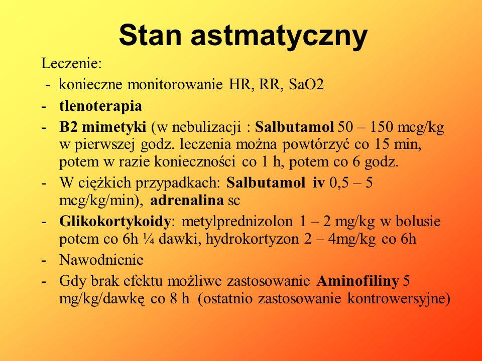 Leczenie: - konieczne monitorowanie HR, RR, SaO2 -tlenoterapia -B2 mimetyki (w nebulizacji : Salbutamol 50 – 150 mcg/kg w pierwszej godz. leczenia moż