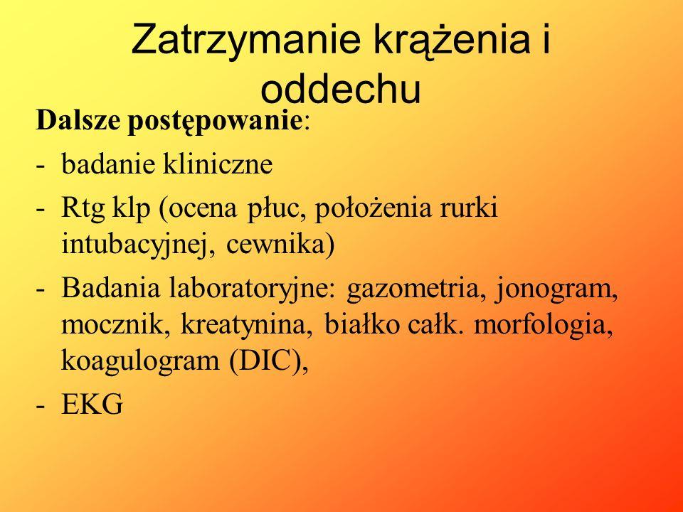 Dalsze postępowanie: -badanie kliniczne -Rtg klp (ocena płuc, położenia rurki intubacyjnej, cewnika) -Badania laboratoryjne: gazometria, jonogram, moc