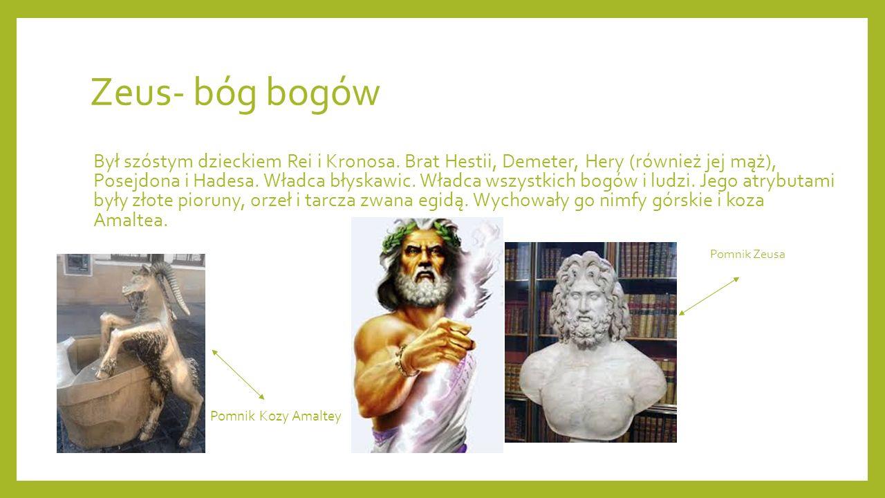 Zeus- bóg bogów Był szóstym dzieckiem Rei i Kronosa. Brat Hestii, Demeter, Hery (również jej mąż), Posejdona i Hadesa. Władca błyskawic. Władca wszyst