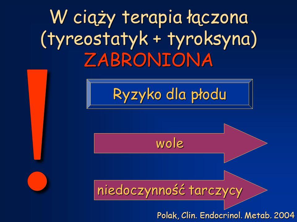 W ciąży terapia łączona (tyreostatyk + tyroksyna) ZABRONIONA .