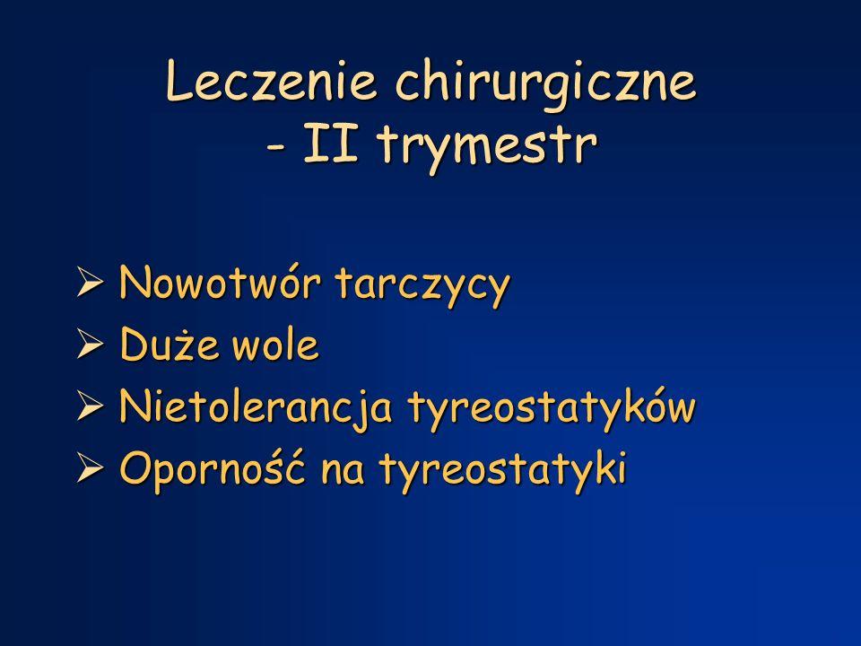 Leczenie chirurgiczne - II trymestr  Nowotwór tarczycy  Duże wole  Nietolerancja tyreostatyków  Oporność na tyreostatyki