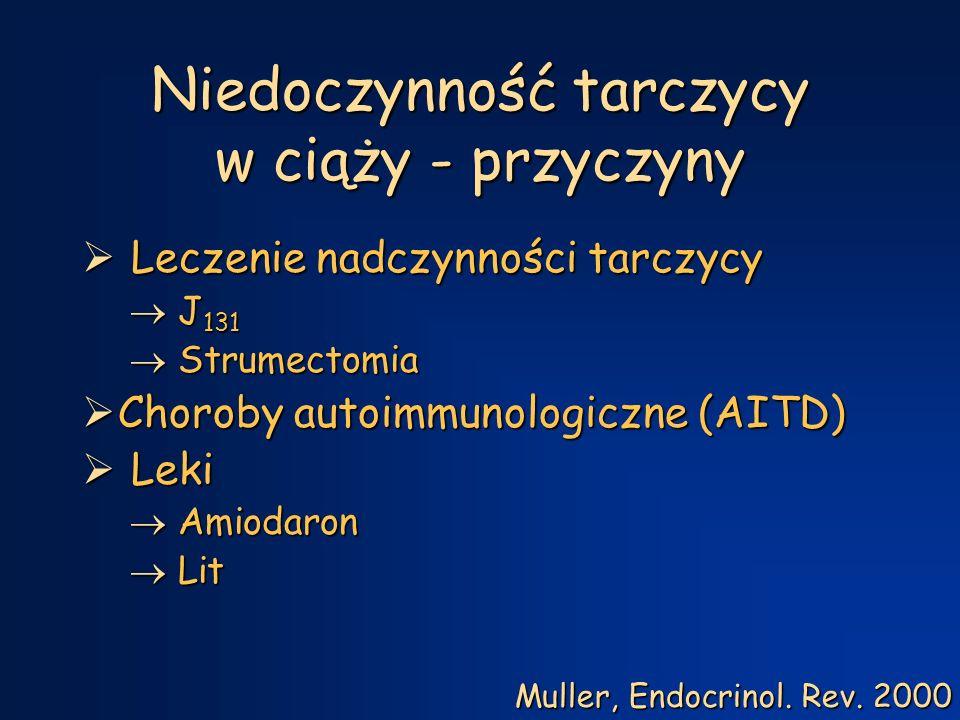 Leczenie nadczynności tarczycy w ciąży i połogu  zachowawcze - tyreostatyk  I trymestr – maksymalna dawka  II i III trymestr  Minimalna dawka  Bez leków  Po porodzie  dawki