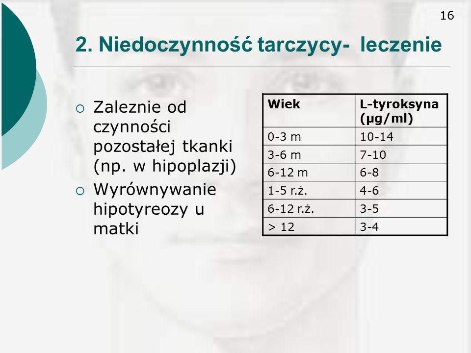 16 2.Niedoczynność tarczycy- leczenie  Zaleznie od czynności pozostałej tkanki (np.
