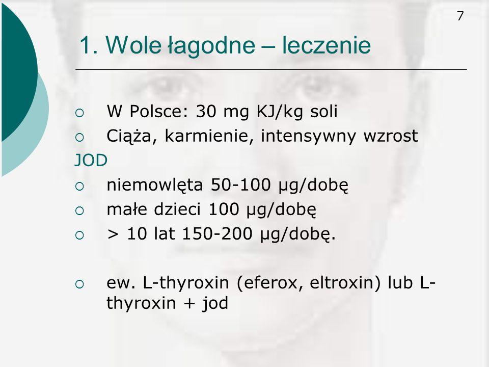 7 1. Wole łagodne – leczenie  W Polsce: 30 mg KJ/kg soli  Ciąża, karmienie, intensywny wzrost JOD  niemowlęta 50-100 μg/dobę  małe dzieci 100 μg/d