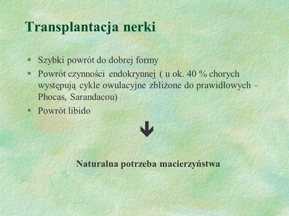 Transplantacja nerki §Szybki powrót do dobrej formy §Powrót czynności endokrynnej ( u ok.