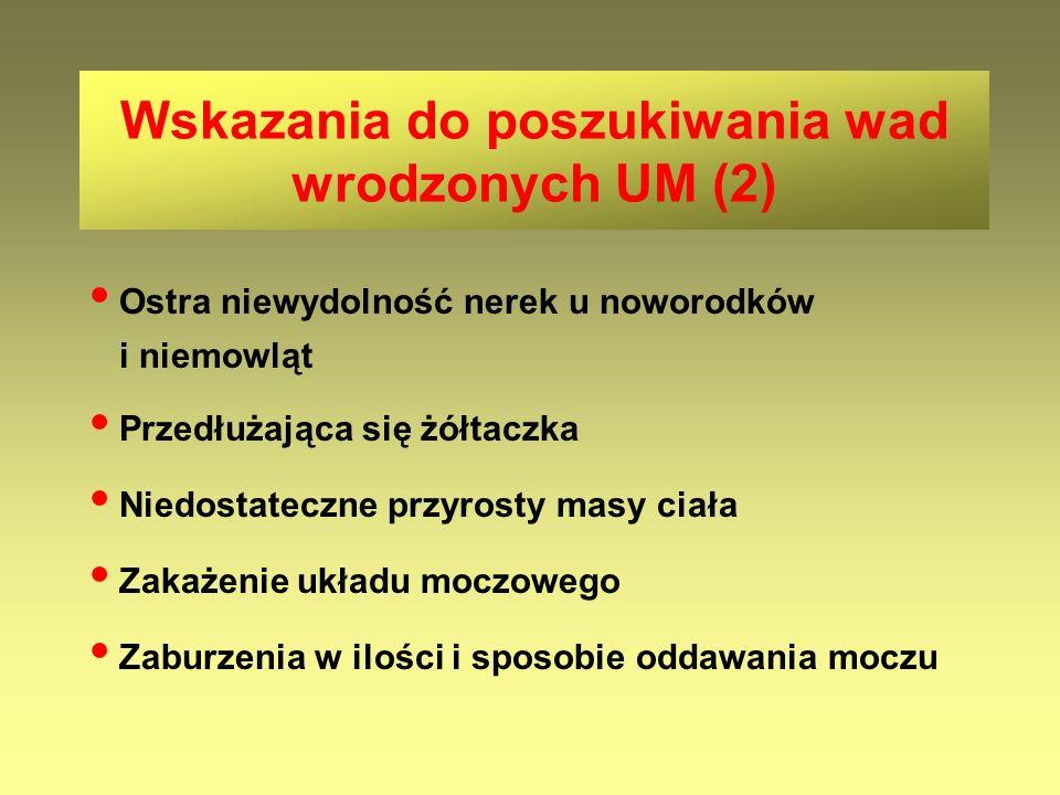 Częste nawroty ZUM (  3 w roku) u dzieci bez wad i zaburzeń czynnościowych UM Nawroty ZUM u dzieci z utrwalonymi bliznami w miąższu nerek Nawroty ZUM u dzieci z wadami rozwojowymi nerek Wskazania do przewlekłej profilaktyki przeciwbakteryjnej (1)