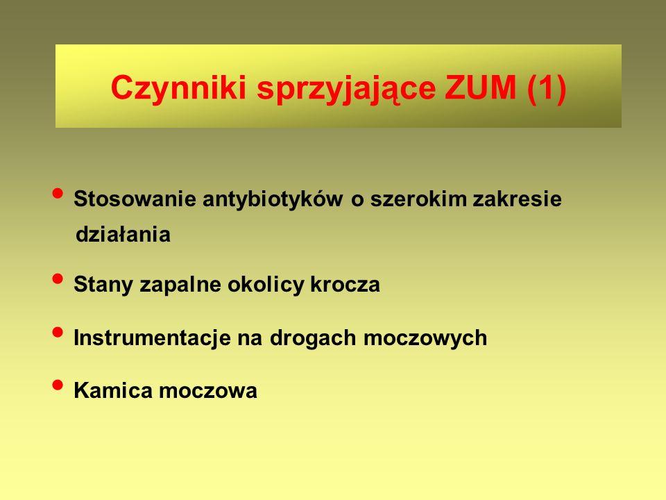 Czynniki sprzyjające ZUM (1) Stosowanie antybiotyków o szerokim zakresie działania Stany zapalne okolicy krocza Instrumentacje na drogach moczowych Ka