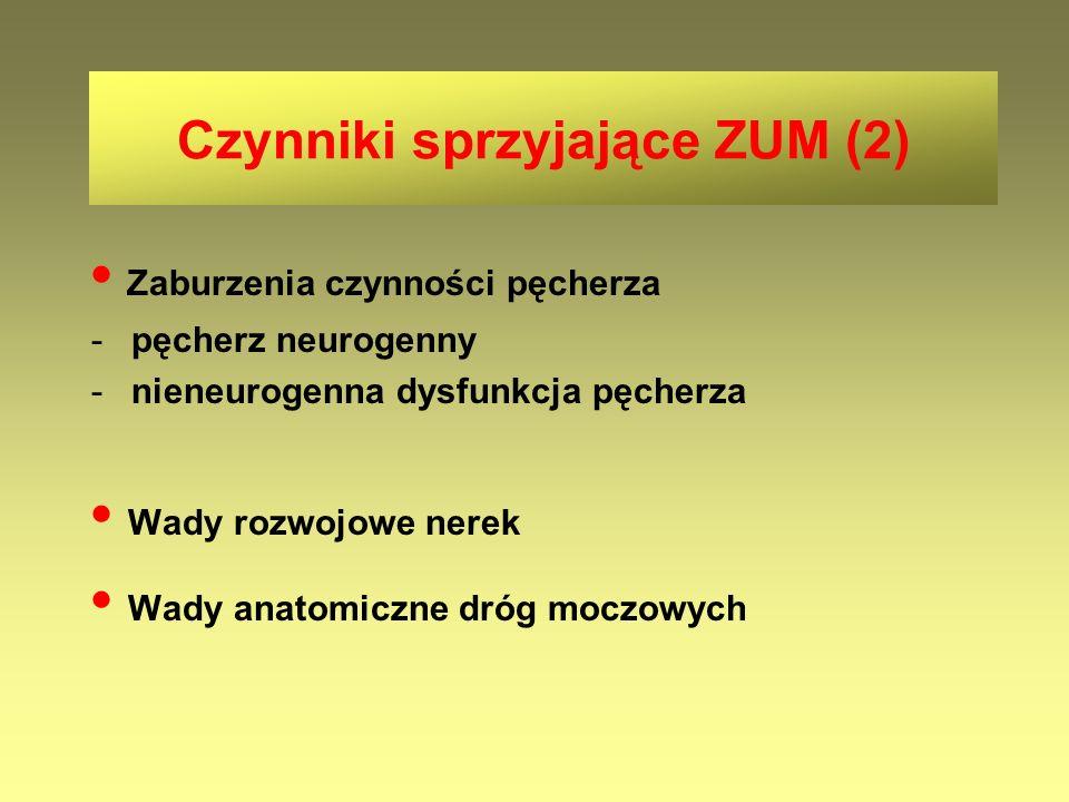 Czynniki sprzyjające ZUM (2) Zaburzenia czynności pęcherza -pęcherz neurogenny -nieneurogenna dysfunkcja pęcherza Wady rozwojowe nerek Wady anatomiczn