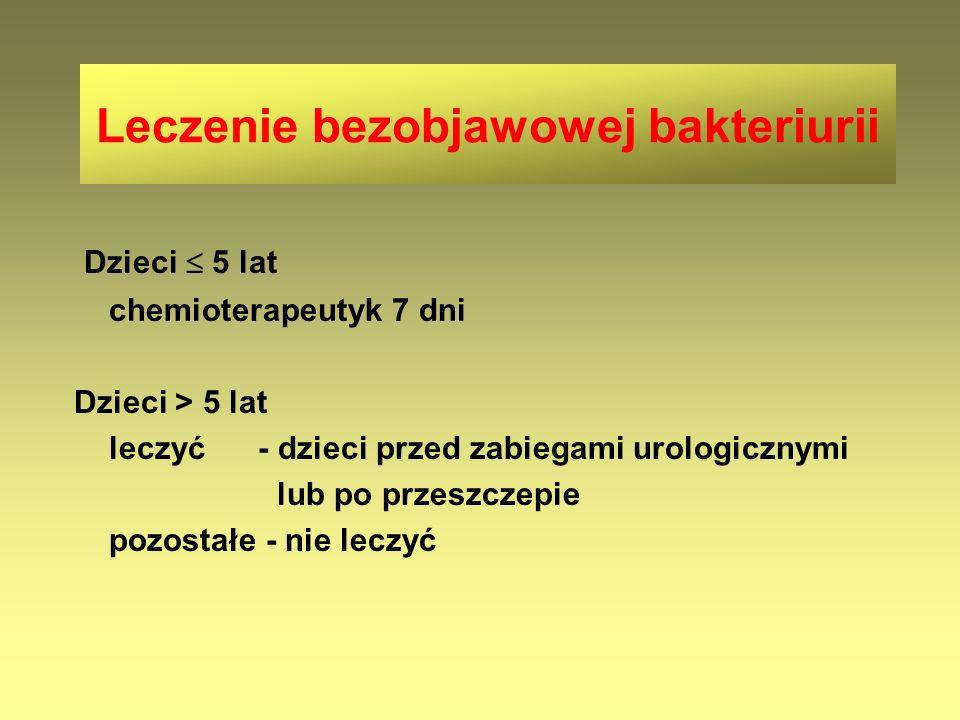 Leczenie bezobjawowej bakteriurii Dzieci  5 lat chemioterapeutyk 7 dni Dzieci > 5 lat leczyć - dzieci przed zabiegami urologicznymi lub po przeszczep