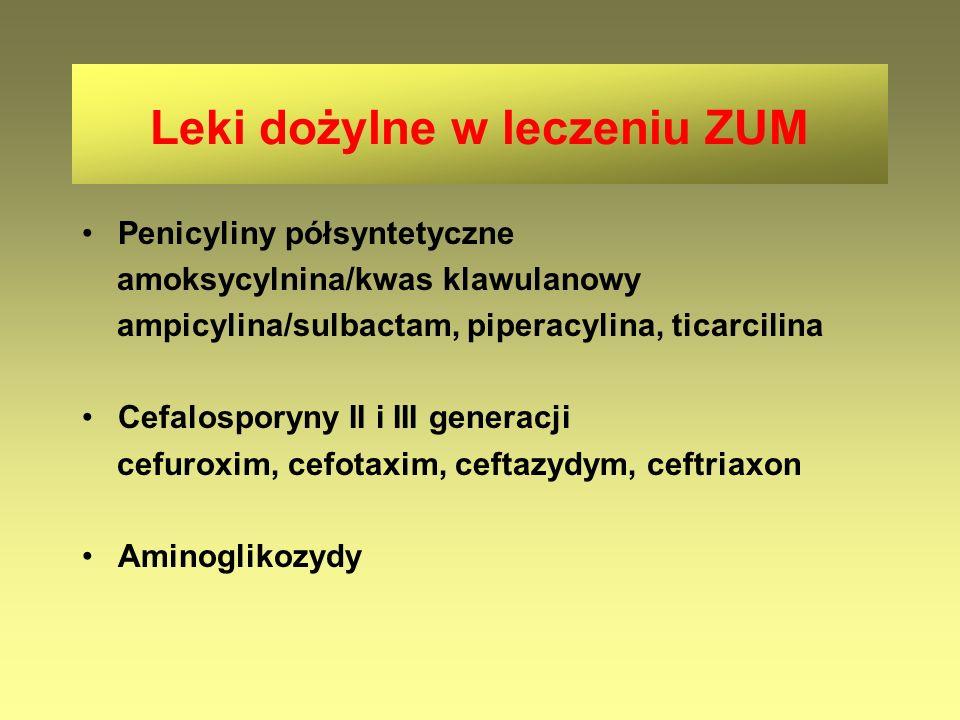 Penicyliny półsyntetyczne amoksycylnina/kwas klawulanowy ampicylina/sulbactam, piperacylina, ticarcilina Cefalosporyny II i III generacji cefuroxim, c