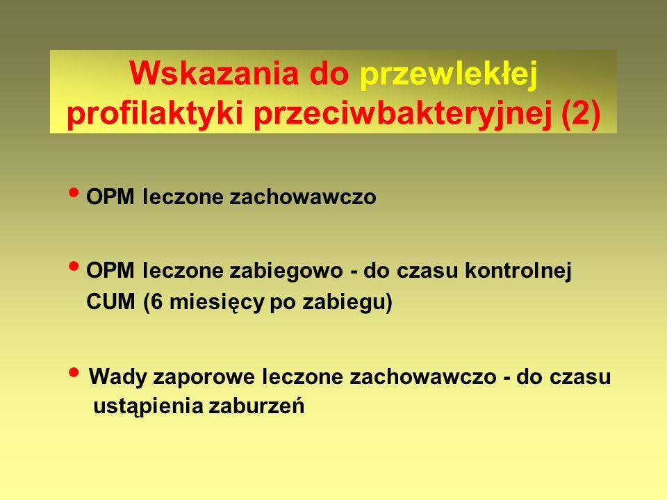 OPM leczone zachowawczo OPM leczone zabiegowo - do czasu kontrolnej CUM (6 miesięcy po zabiegu) Wady zaporowe leczone zachowawczo - do czasu ustąpieni